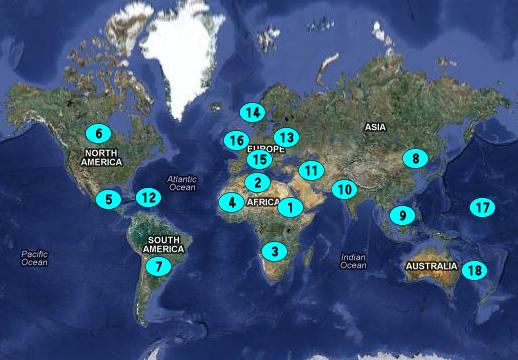Puertos del Mundo por Continente