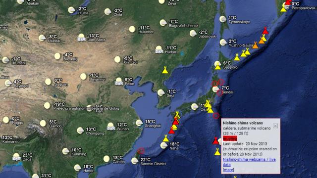 Mapa interactivo de volcanes activos y terremotos